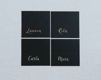 Wedding Place Cards   Hand Lettered   Calligraphy   Made to order   Tented Place Cards   Name Cards