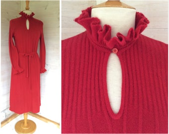 Vintage 1980's red knitted Tricoville dress