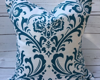 Unique ~ Damask ~ Blue & White ~ Dark Teal 18x18 Osborne Pillow Cover ~ Scroll Emperial ~ Ikat