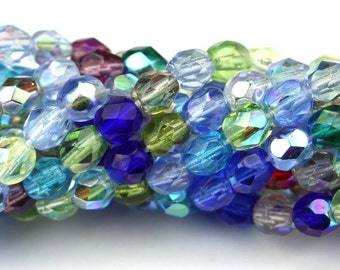 Czech Glass Beads Fire Polished Faceted Rounds 4mm Multi Color AB Mix (50) CZF572