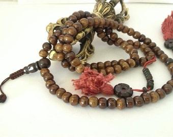 Dark Yak Bone Tibetan 108 Bead Mala for Meditation with Bone Counters