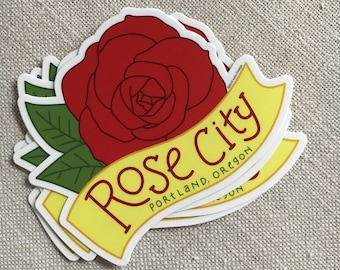 Rose City Vinyl Sticker / Portland Oregon Modern Sticker / Cool Laptop Sticker / Illustrated Sticker / Waterproof Vinyl Car Sticker