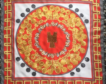 "Limited Edition Vintage British Museum ""Coin Images"" Large Silk Scarf"
