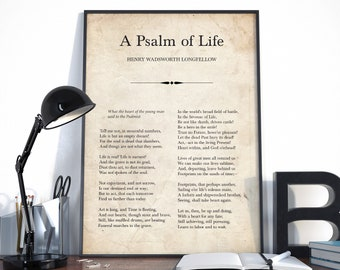 A Psalm of Life, Henry Wadsworth Longfellow, Poetry Print, Poem Print, Inspirational Poem