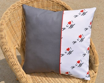 Cushion cover I love you heart love red white gray