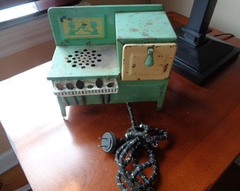 Vintage Toy Tin Litho Celadon Green Electric Child's Stove complete with tiny spoons with Cloth Cord