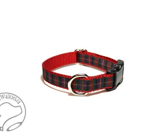 """Cameron Clan Tartan -  3/4"""" (19mm) Wide - Plaid Dog Collar - Cameron of Erracht - Martingale or Side Release Buckle - Choice of size & style"""