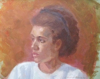 Ernest Bendell-Bayly Original Oil Painting - Portrait Of Heather