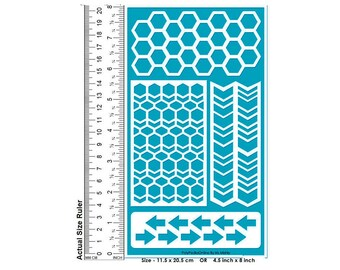 Stencil, Stencil for Painting, Craft Stencil, Wall Stencil,Decor Stencil, DIY Stencil, Pattern Stencil, Adhesive, Arrow, Honeycomb, Vinyl