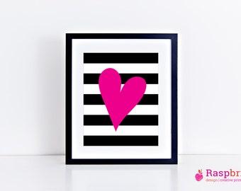 Heart & stripes, digital print, home decor, modern, scandinavian, black and white, simplistic, wall art, bold, heart