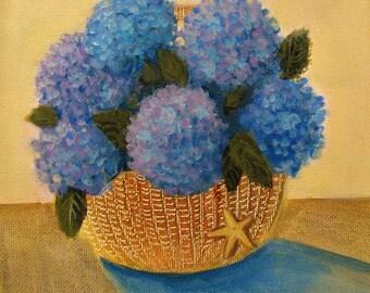 "Hydrangeas Nantucket Basket Starfish Coastal Beach Original signed Acrylic Painting 6""x 6""x 1.5"""