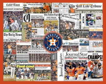 Houston Astros 2017 World Series Newspaper Collage Print Art. 25 Front-Page Headlines