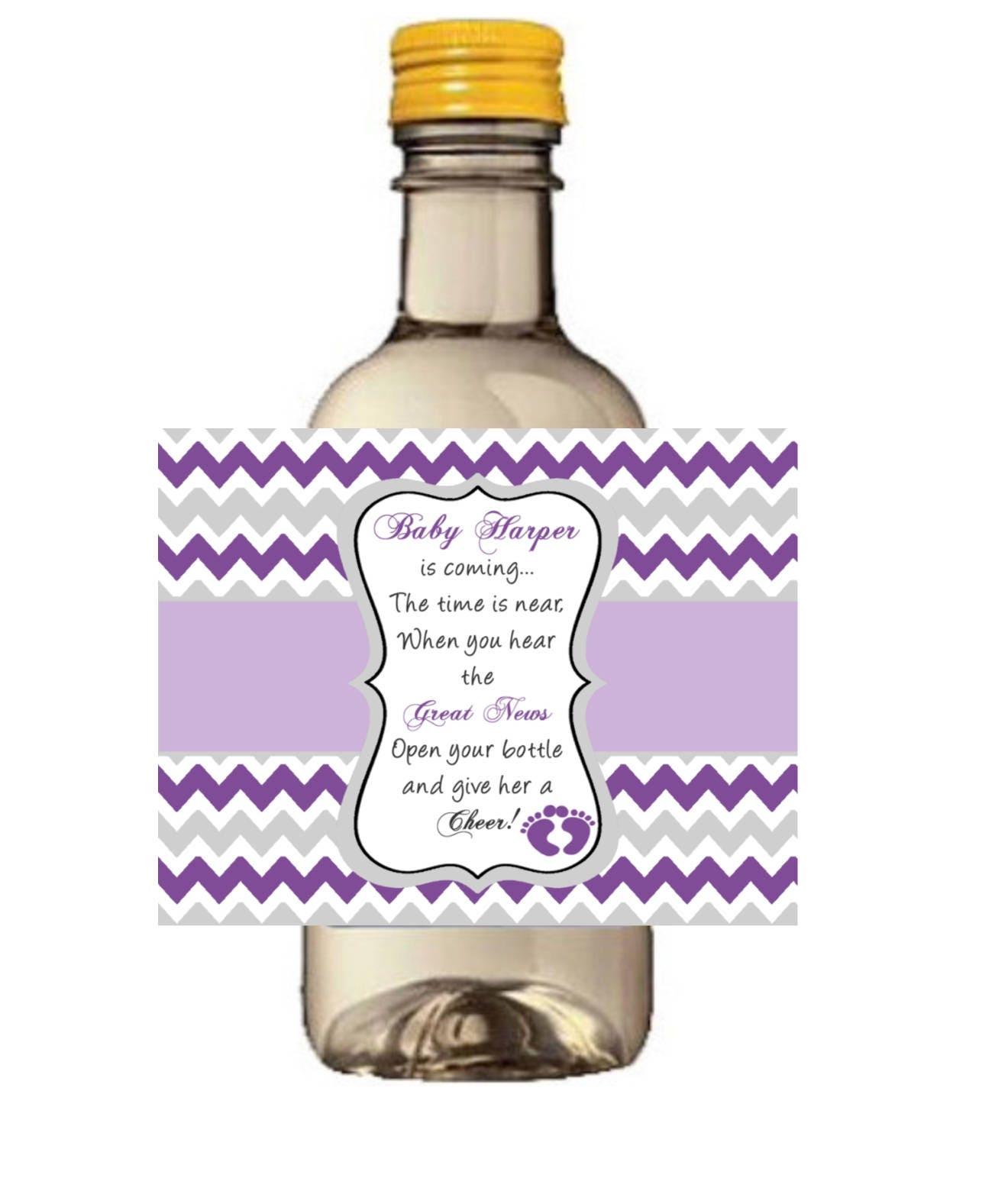 Purple and Silver Mini Wine Bottle Label Silver and Purple