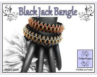 Tila Beading Pattern, Tutorial, Bangle - BLACK JACK