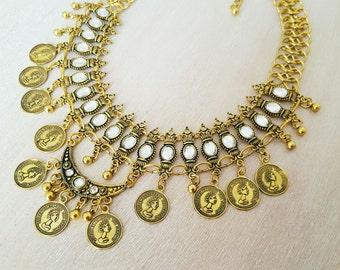 Vintage style Coin Necklace, Boho Necklace, Retro Necklace, Choker Necklace