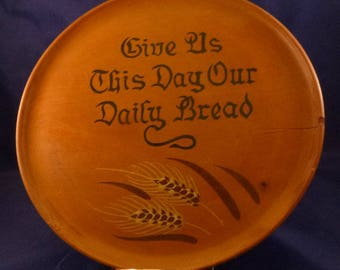 Vintage Give Us This Day Our Daily Bread Wooden Plate Wall Hanging, 1970s