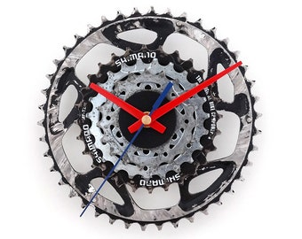 Wall Bike Clock, Bicycle Clock, Unique Clock, Cyclist Gift, Cycling Decor, Recycled Clock, Decor Art Clock, Metal Clock, Gear Clock