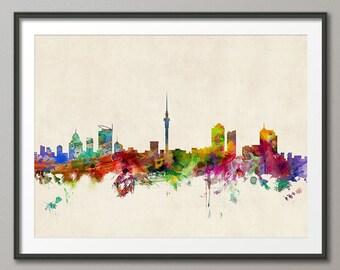 Auckland Skyline, Auckland New Zealand Cityscape, Art Print (667)
