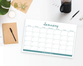 2018 Printable 12 Month Wall Calendar - Fun Casual Rustic Teal Monthly Wall Calendar and Family Planner - 2018 Instant Download Calendar