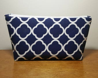 Navy Cosmetic Bag, Makeup Bag, Zipper Pouch, Gift for Her