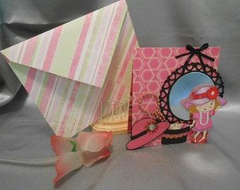 Handmade easel card  to girl.