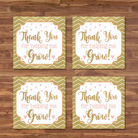 Teacher Appreciation Week Tags Thank You For Helping Me Grow - Teacher Gift Tag - Gold Leaf Hearts Thank You Tags - Teacher Thank You