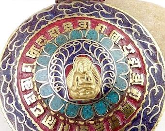 LARGE PENDANT Buddha Om jewelry stones Buddhist meditation 3682.2