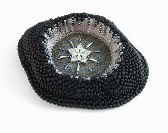 Rhinestone Star Brooch, Contemporary Jewelry, Black Silver Necklace, Statement Jewelry, Unique Beadwork Brooch, German Bead Art Jewelry