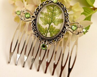 Noble hair comb in green silver with fern motif, natural hair comb