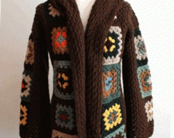 Crochet granny square sweater