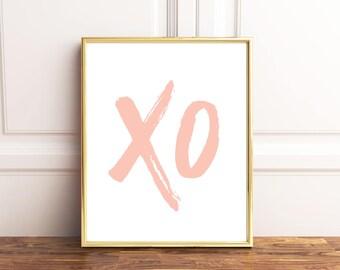 Peach wall art, XOXO decor, Pink xoxo decor, Pink wall art, xo print, Minimalist wall art, Pink digital poster, Modern minimalist, Instant