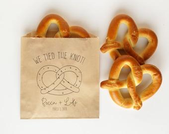 We Tied The Knot Wedding Favor Bags - Pretzel Bag, Soft Pretzel Bags - Grease Resistant Bags