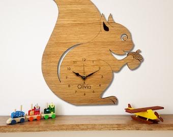 Squirrel Wall Clock, Children's Clock,