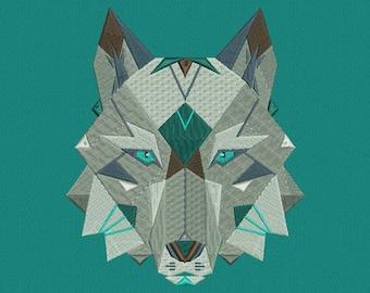 Machine embroidery designs Wolf polygonal