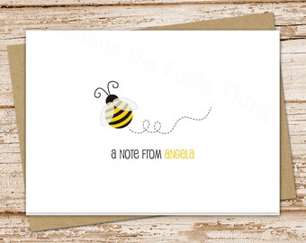 personalized bee note cards notecards . bumble bee personalized stationery . folded stationary . teacher gift . set of 8