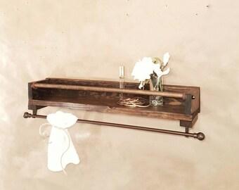 SALE NEW Bathroom towel holder shelf organizer reclaimed wood-minimalist decor/design-rustic modern decor  bathroom-storage & organization