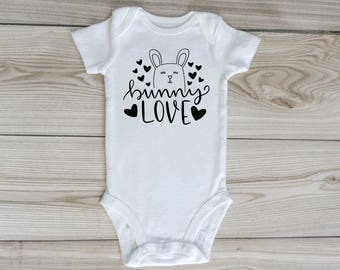 bunny love onesie / Easter onesie / bunny rabbit onesie / custom baby onesie / custom baby shirt / gender neutral / baby clothing