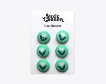 Tulip Coat Buttons in Aqua