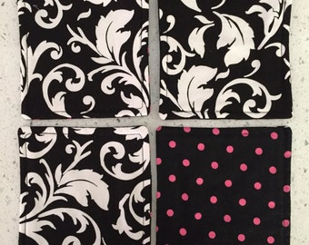 Drink Coasters - Set of 4 - Black and White Scroll