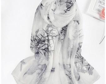 Black And White Silk Scarf   Ladies White Silk Scarf   Black Silk Scarf Long   Large Black Silk Scarves   Silk White Floral Scarf