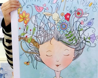 Think Happy thoughts, happy thoughts print, positive thoughts, large nursery print, Think happy, Flower girl, lovely poster,Happiness poster