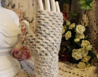 Women's Wool Tweed Elegance Hand Crocheted Fingerless Gloves - One Size