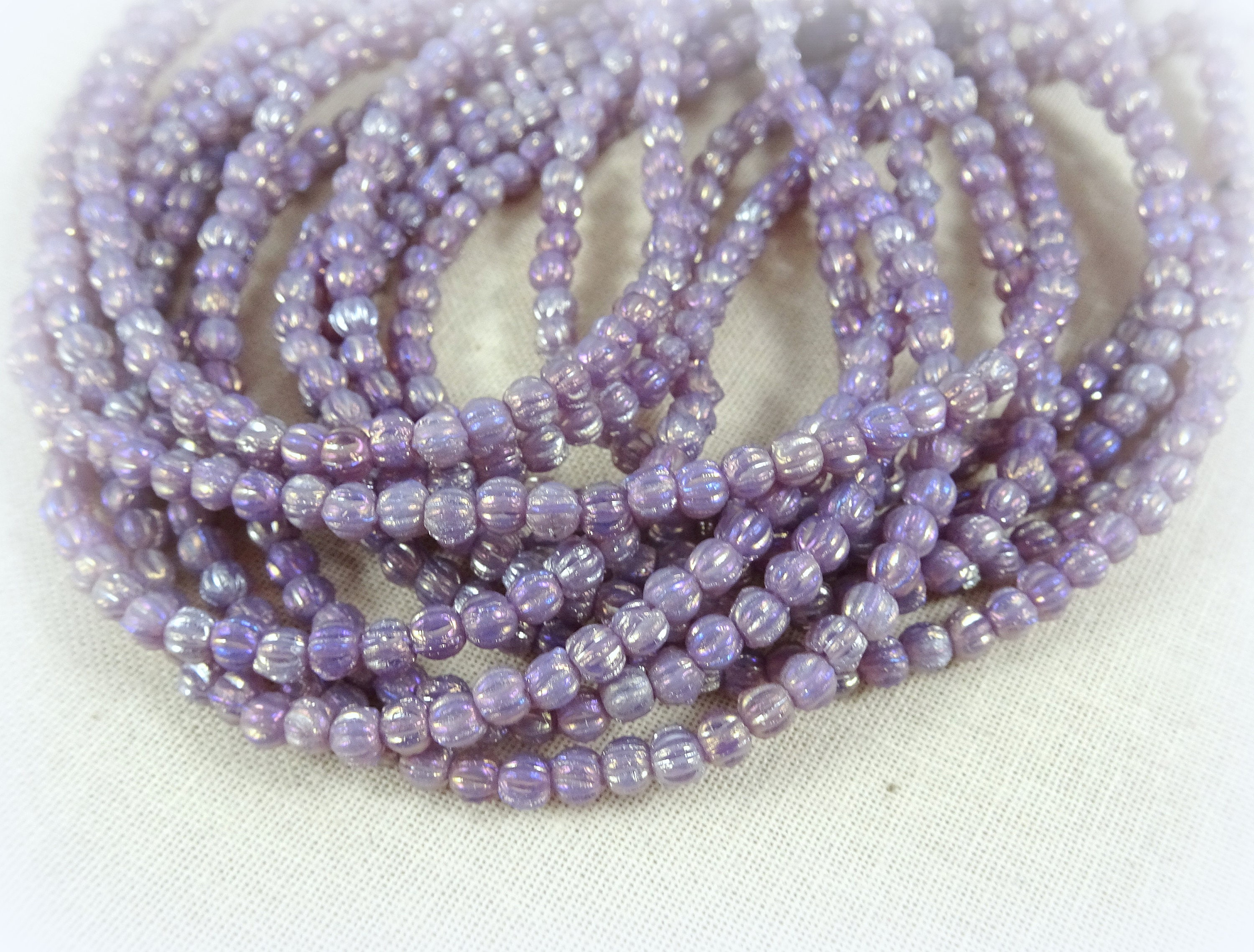Lilac Fire Update >> Czech Beads, 3mm Melon, Czech Glass Beads - Milky Amethyst Iris Luster (D3M/SM-LR21010) - Czech ...