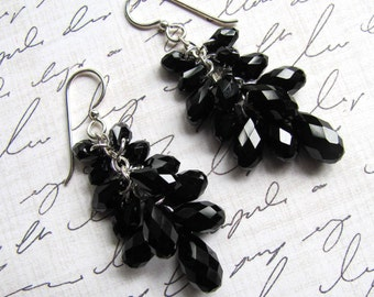 Black Dangle Earrings, Swarovski Crystals, Black Earrings, Dangle Earrings, Dressy Earrings, Teardrop Earrings, Statement Earrings