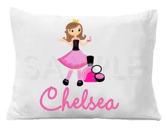 Diva Glamour Girl Pillow Case, Girly Personalized Pillowcase, Personalized Girl's Bedding, Spa Girl Birthday Gift, Custom Pillow Case
