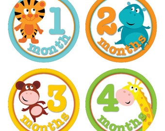 Jungle Time - Baby Milestone Stickers (1-12 months)