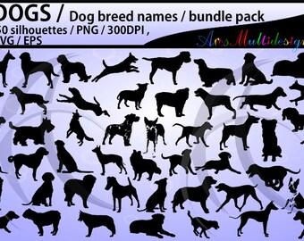dog silhouette svg / 50 dog / dog breed names with pictures PNG / SVG / EPS / puppy/  Hq / vector / pets silhouette / animal silhouette