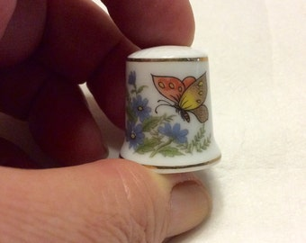 Porcelain thimble with butterfly decor. Free ship to US.