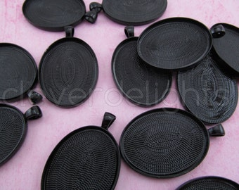 100 Pk - 30x40mm Oval Pendant Trays - Dark Black Color - Vintage Style Oval Pendant Blanks - For Clear Glass or Resin - 30 x 40 mm