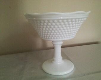 Westmoreland Hobnail Milk Glass Compote